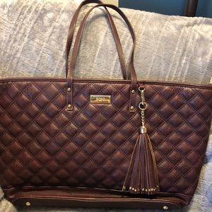 BCBG Quilted Maroon bag with Tassel